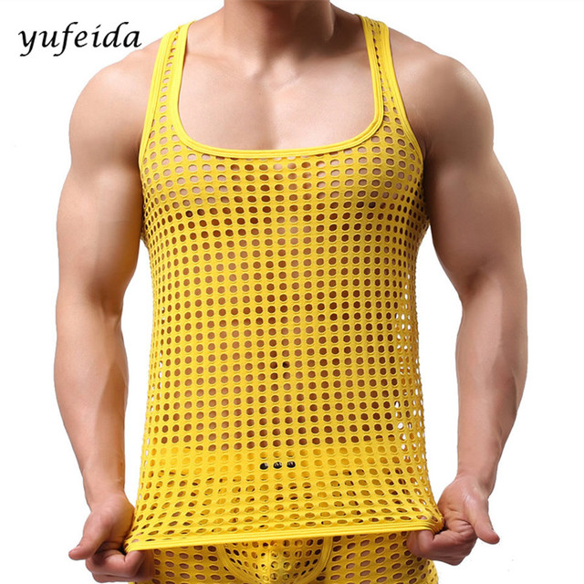 In Shirt Top 33Off Underwear 95 Vest Hollow Tank Us10 Show Tops Men Undershirt From Men's Sheer Sleeveless sexy Out Y76gybf