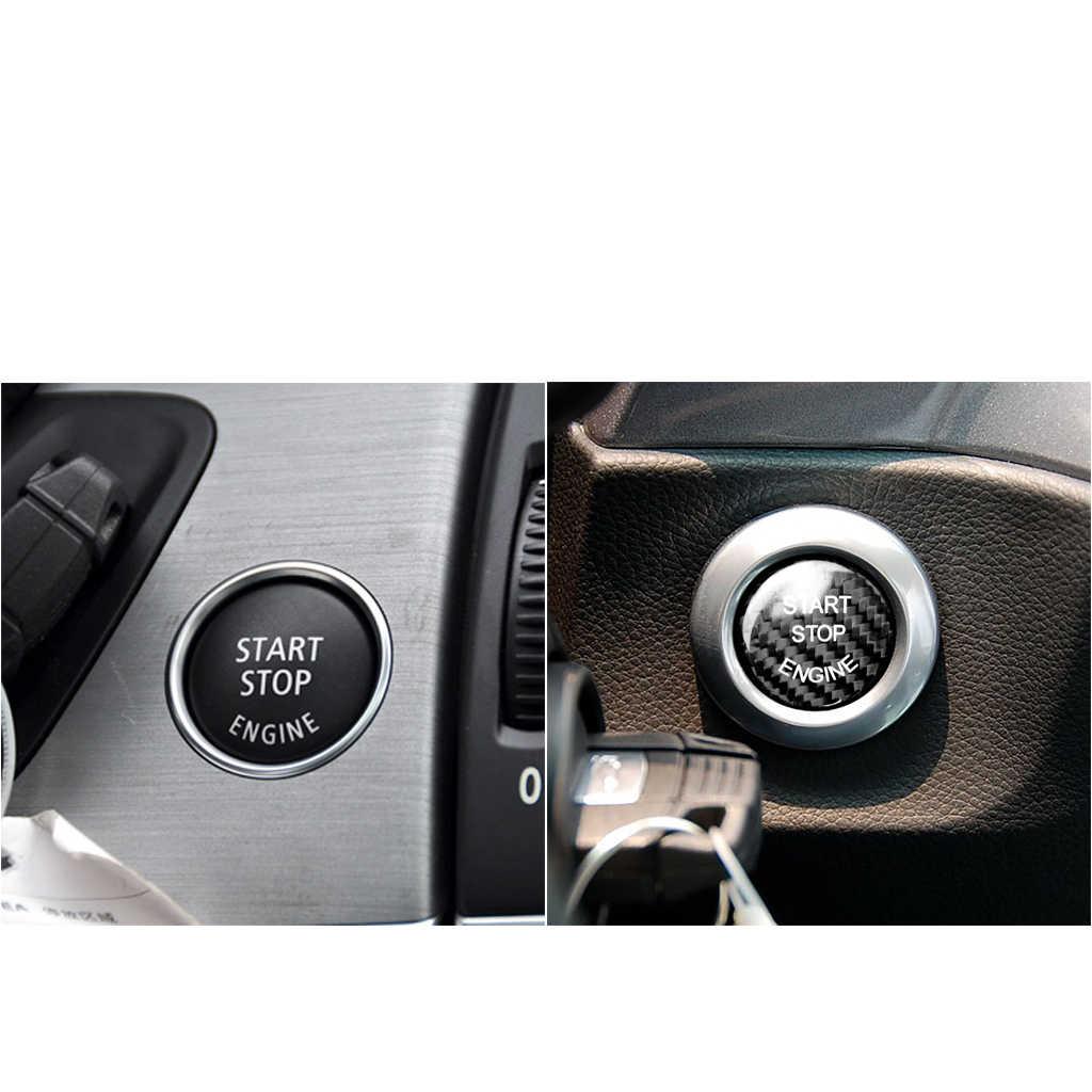 Fibra de carbono botão interruptor parada partida do motor carro adesivo capa para bmw f25 f26 f12 f10 1 série 3 e70 e90 preto para e chassis