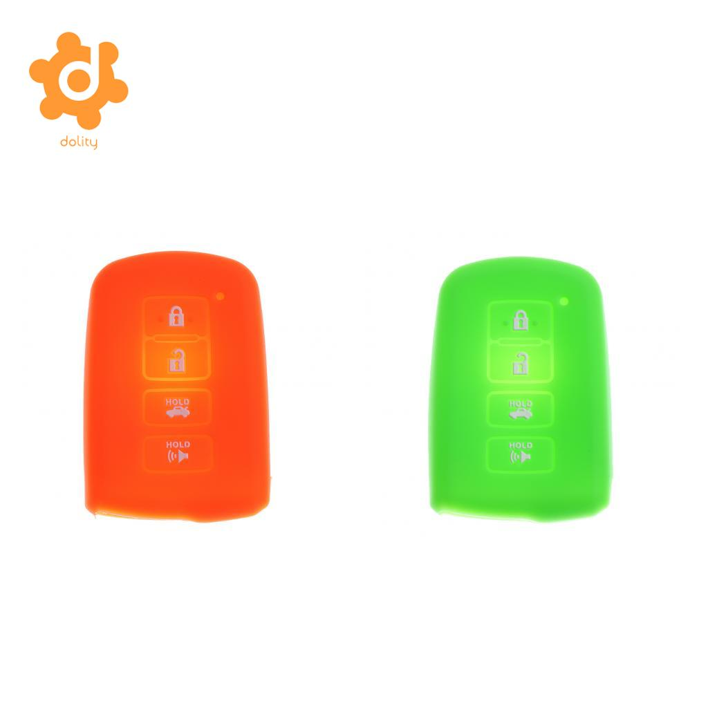 Orange+Green Silicone Car Key Shell Fob Case Cover for Toyota Avalon RAV-4