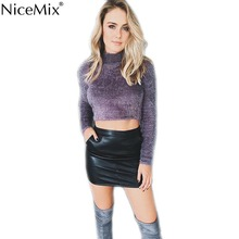 NiceMix 2016 Autumn Knitted Sweater Women Sexy Short Pullover Sweaters Slim Turtleneck Mohair Woman Knitwear Winter