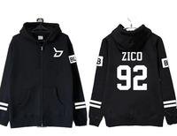 Kpop block b member name printing zipper hoodie jackets for fans supportive autumn winter fleece unisex zico po sweatshirt
