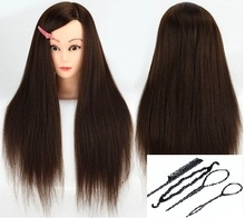 CAMMITEVER Brown Head With 4 Tools Hair Style Hairdressing Mannequin Styling Manikin Doll Training for Salon Practice