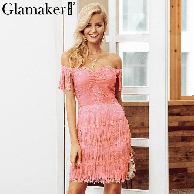 Glamaker Pink embroidery off shoulder tassel sexy dress Women lace summer beach dress Female party club short dress 2019 vestido