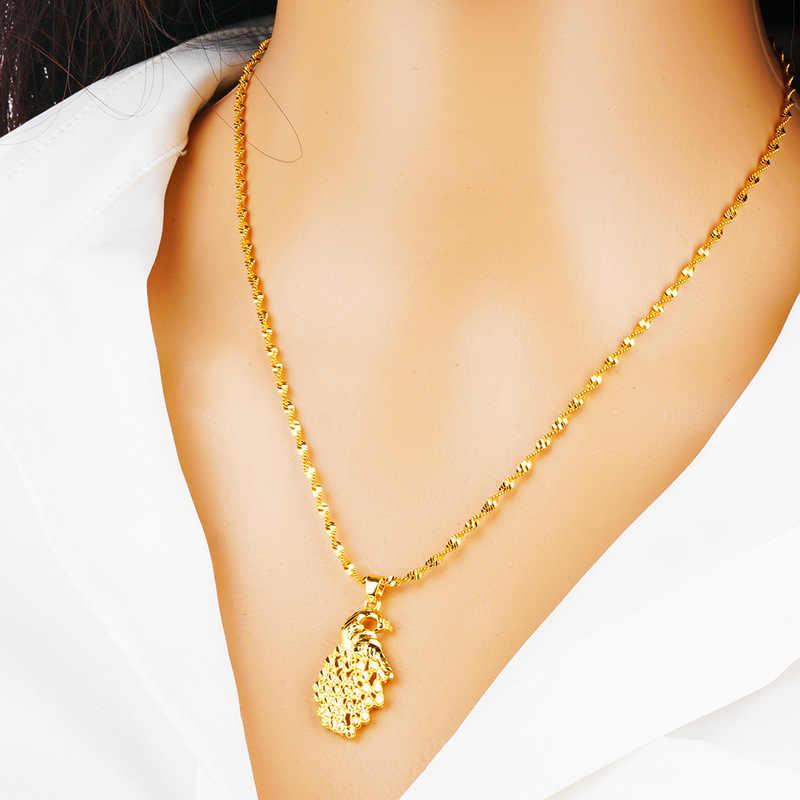 OMHXFC hurtownie moda kobieta Party urodziny prezent ślubny paw 24KT złoty naszyjnik + pierścień + kolczyki + bransoletka zestaw biżuterii SS29