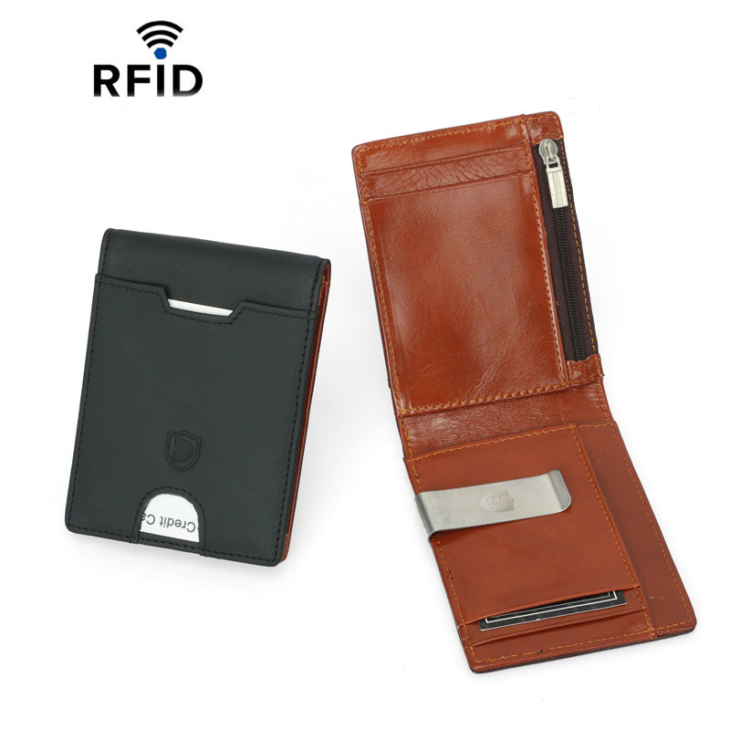 Simple Style Money Clip Wallet With Coin Pocket Genuine Leather Clamp For Money Crad Holder Leather Purse For Men Gift
