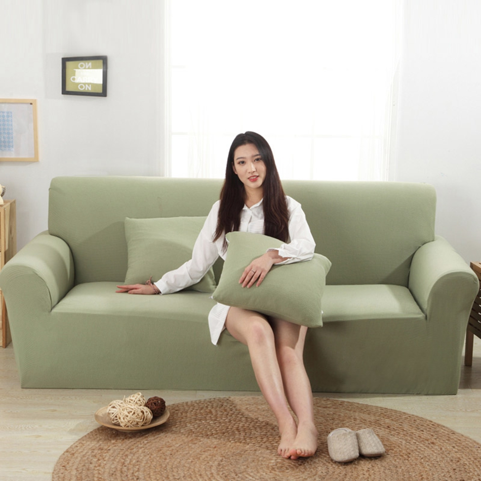 Green Knitted Couch Sofa Covers For Living Room Solid