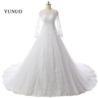 2018 Hot Sale Lace Appliques Long Sleeves White Wedding Dress With Sexy Bridal Gown Custom Size vestido de noiva x1231