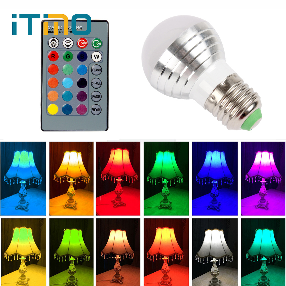 16 Colors E27 3W LED Lamp Home Decoration IR Remote Control Dimmable lighting RGB Bulb AC 85-265V new 3w e27 led rgb led light bulb with ir remote control pop lamp color changing ac 85 265v 16 colors changing led bulbs tubes