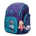 Delune Original Tiere Muster Schule Taschen für Mädchen Eule Bears Kinder Orthopädische Rucksack 6-108 Mochila Infantil Grade 1 -3-5