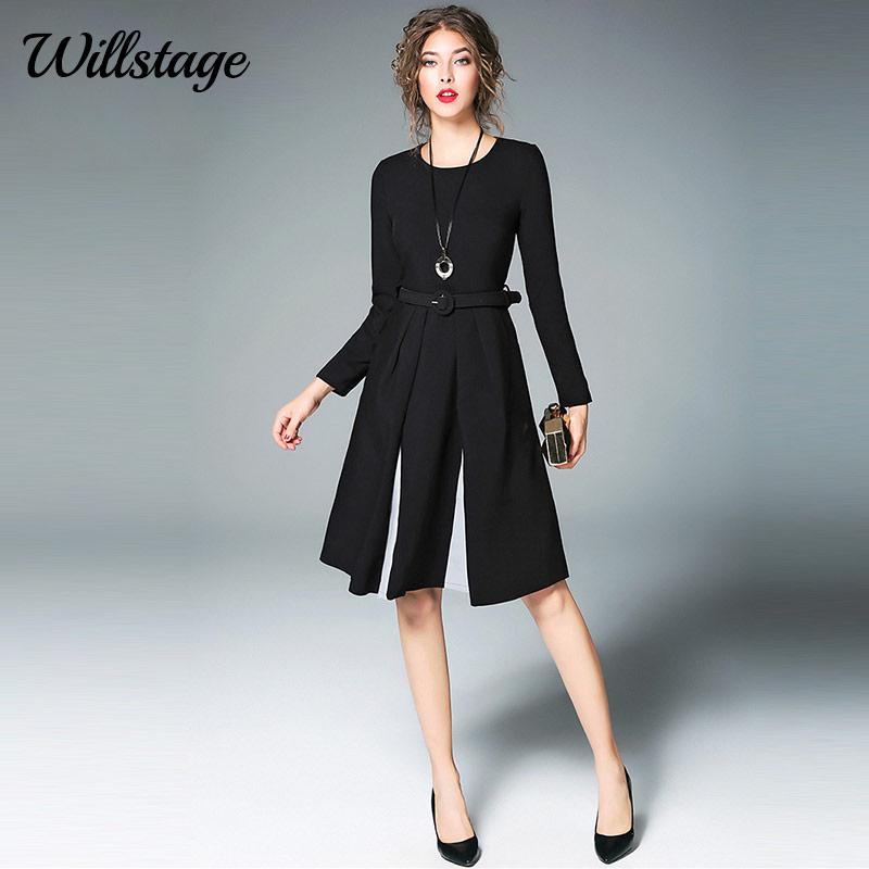 63ce6b869dc5a Willstage Women Little Black Dress With Belt Long Sleeve Pleated A-line  Elegant Party Dresses OL office lady 2018 Spring Vestido