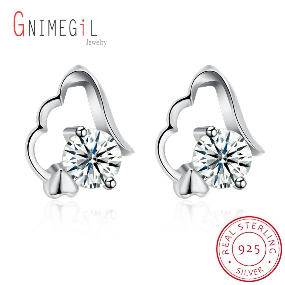 GNIMEGIL 925 Sterling Silver Jewerly Fashion Vintage Crystal Crescent Stud Earrings Earring For Woman New 2018 Christmas Gift