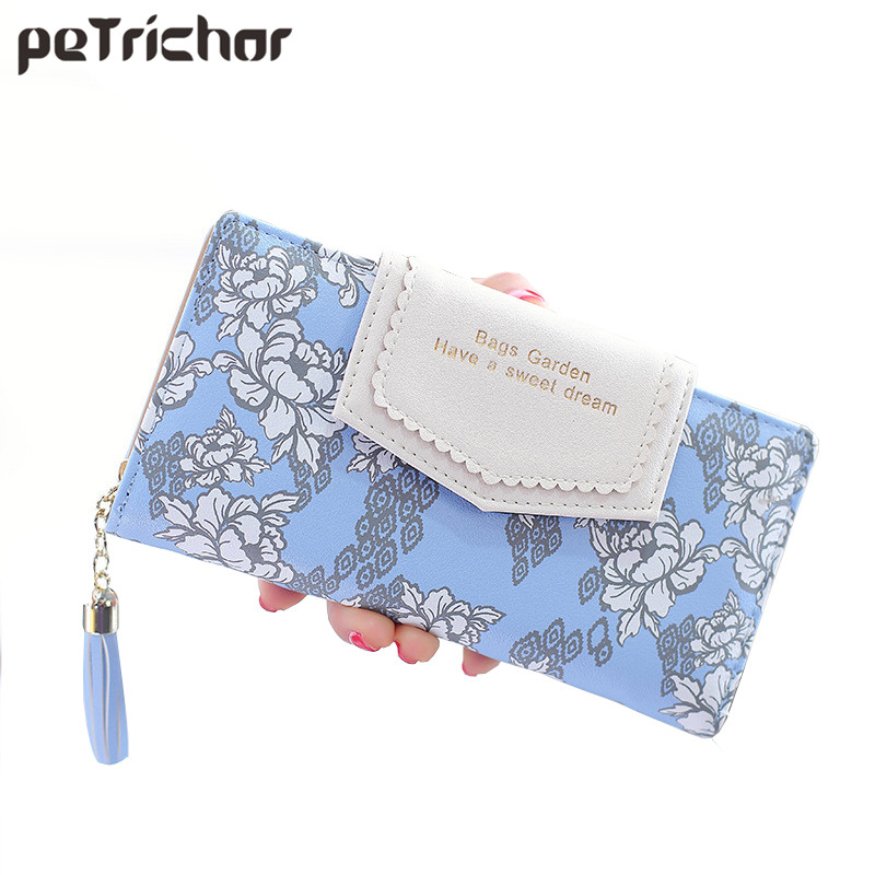Tassel Zipper Clutch Wallets Women Floral Hasp Ladies Long Wallet Brand Designer Card Photo Holder Change Purse for Female vesonal 2017 quality mocassin male brand genuine leather casual shoes men loafers breathable ons soft walking boat man footwear