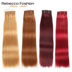 Rebecca, двойные вьющиеся волосы, 113 г, Remy, бразильские, шелковистые, прямые, волнистые человеческие волосы, пряди, Омбре, красный, коричневый