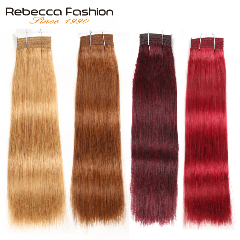 Rebecca Double Drawn Hair 113g Remy Brazilian Silky Straight Weave Human Hair Bundles Ombre Red Brown Blonde Black Colors 1 PC