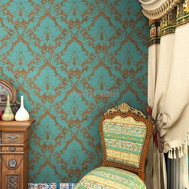 Haokhome vintage blau/bronze tapete retro damast vlies tapete ...