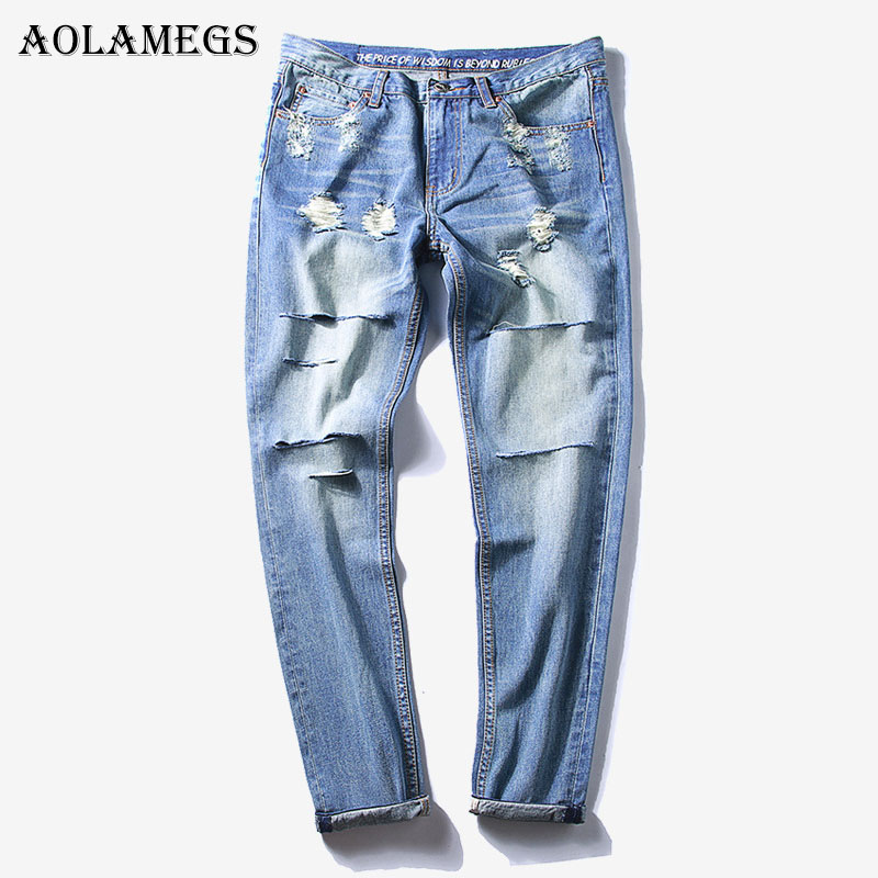 Aolamegs Biker Ripped Jeans For Men Holes Pants Mens Selvage Skinny Jeans Baggy Brand Denim Cotton Trousers Bottoms 2017 Fashion 2017 fashion patch jeans men slim straight denim jeans ripped trousers new famous brand biker jeans logo mens zipper jeans 604
