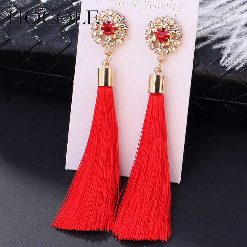 Bohemia Crystal Flower Tassel Earrings Handmade Red Blue Fringed Long Drop Earrings boucle d'oreille For Women Girl Jewelry Gift