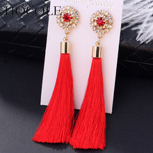 Bohemia Crystal Flower Tassel Earrings Handmade Red Blue Fringed Long Drop Earrings boucle d'oreille For Women Girl Jewelry Gift(China)