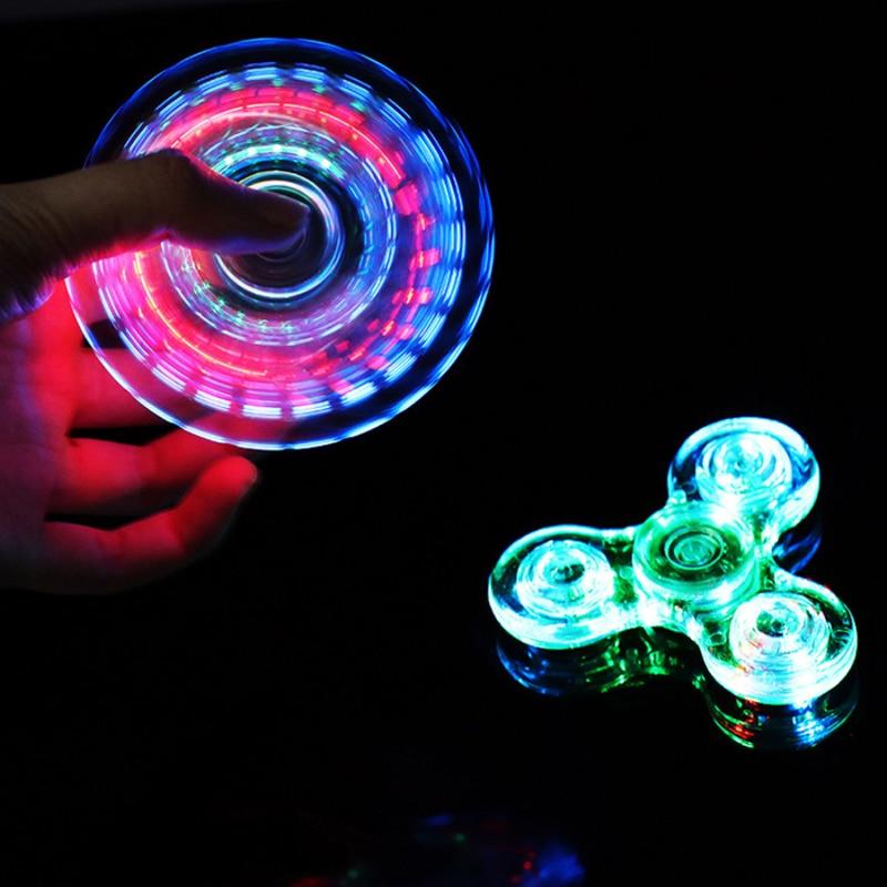 Luminous LED light Fidget Spinner Hand Top Spinners Glow in Dark Light EDC Figet Spiner Finger Stress Relief Toys 2