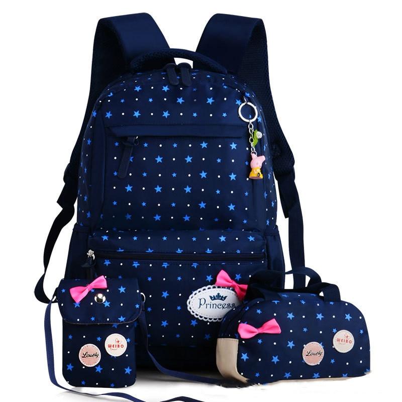 3pcs/set School Bags Backpack Schoolbag Fashion Kids Lovely Backpacks For Children Teenage Girls School Student Mochila