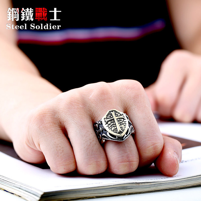 steel soldier man biker ring personality Stainless Steel Knights Ring factory di