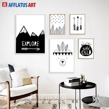 AFFLATUS Explore Bear Arrow Wall Art Canvas Painting Black White Posters And Prints Pictures Nordic Style Kids Decoration