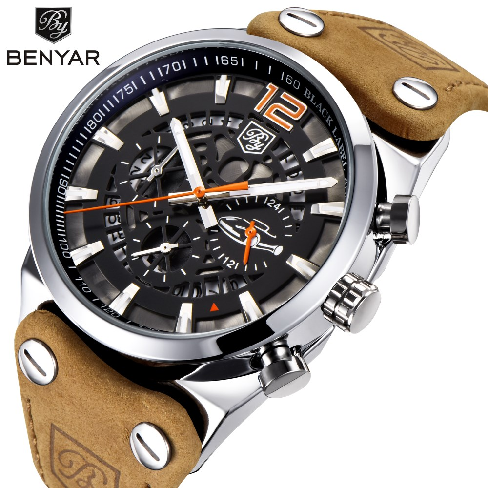 BENYAR Wristwatches Men Chronograph Sport Mens Watches Fashion Brand Military Waterproof Quartz Watch Clock Relogio Masculino men quartz watches military fashion men business casual quartz wristwatches 50m waterproof watch relogio masculino liebig 1018