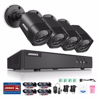 ANNKE 4CH 1080N TVI 4in1 DVR 1500TVL 720P CCTV Video Outdoor Security Camera System Dome Type