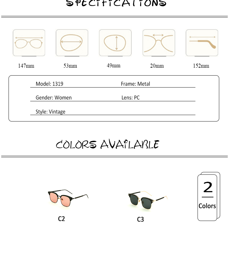 Vintage Metal Half-Rim Sunglasses Women 2018 Tidien Retro Plastic Mirror Shopping Fishing Ray Classic Sun Glasses Women 1319 (5)