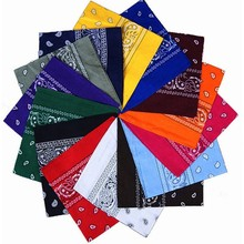 Унисекс Винтажный женский мужской головной убор шейный шарф напульсник носовой платок 14 цветов