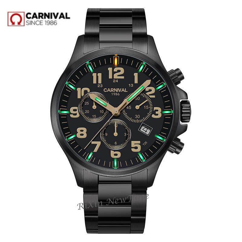 Chronographe T25 Tritium Lumineux chronomètre hommes de luxe marque Ronda quartz hommes montres en acier plein horloge erkek kol saati reloj uhr