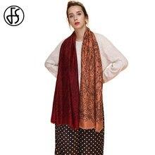 d7afef0a9580 FS Foulard Femme Écharpe Femmes Coton Imprimer Châle Grand Hijab Viscose  Pashmina Gradient Couleur Foulards Echarpe