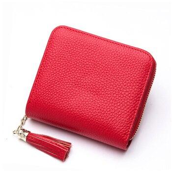 BISON DENIM Leather Women Wallet Zipper Purse Coin Pocket Wallet Cowhide Female Short Card Holder carteira feminina N3276