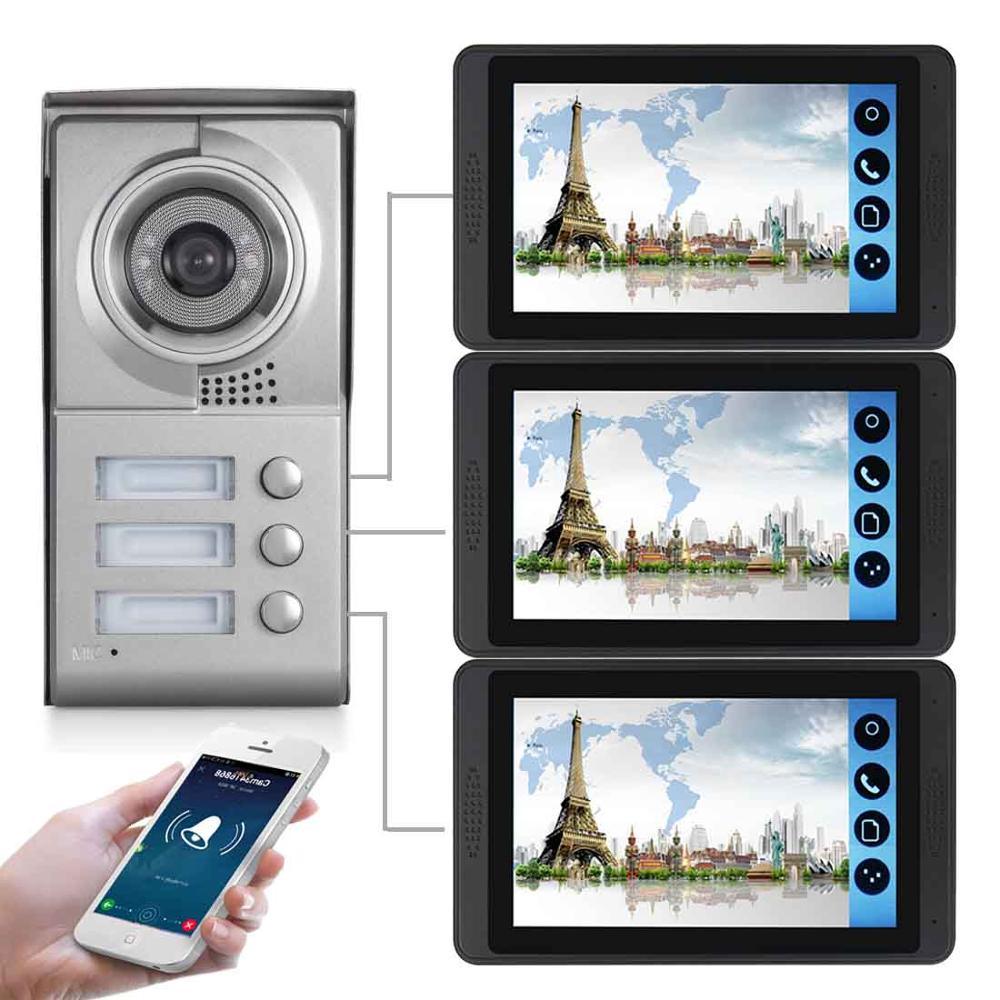 SmartYIBA APP Control Video Intercom 7 Inch LCD Wifi Wireless Video Door Phone Doorbell Visual Intercom KIT For 2/3 Apartment