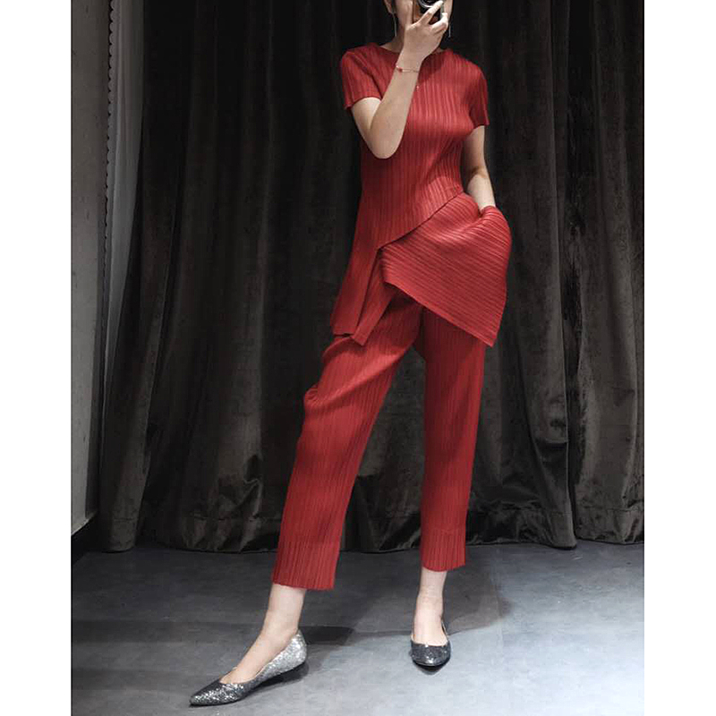 Azterumi Women High Quality Pants Suit Asymmetrical Top And Straight Long Trousers Summer Fashion Ladies Pleats