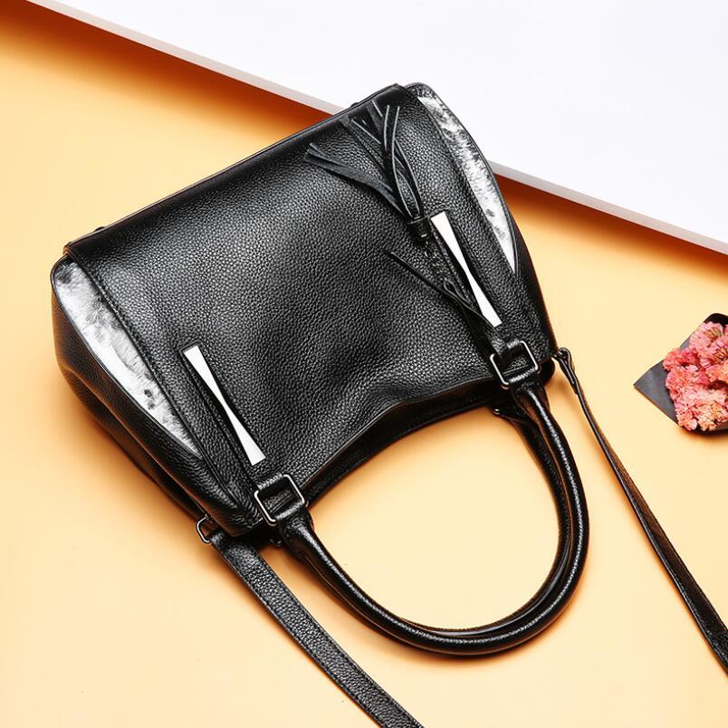 FoxTail & Lily Wind Nature Serpentine Patchwork Leather Handbags Popular Tassel Shoulder Bag Brand Designer Ladies Crossbody Bag цены