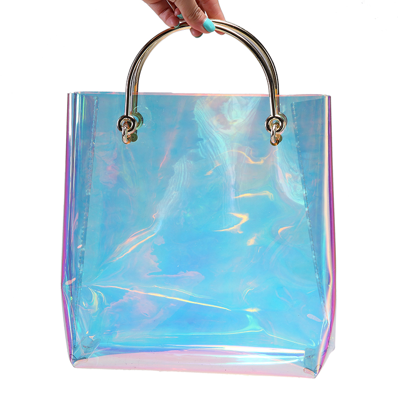 2017 Summer Hologram Women Bags Handbags Women Famous Brands Metal Handle Tote Bag Transprent Open Shopper