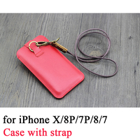 For Apple iPhone X Case with 48cm Strap High Quality Phone Pouch Sleeve for iPhone 8 Plus Handmade Bag for iPhone 7 Plus iPhone6