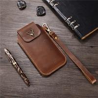 Wrist Men Genuine Leather Case Mobile Phone Waist Bag Wear Belt Verticle Waist Bag for Caterpillar Cat S61 S60 S48c S50 S31 S41