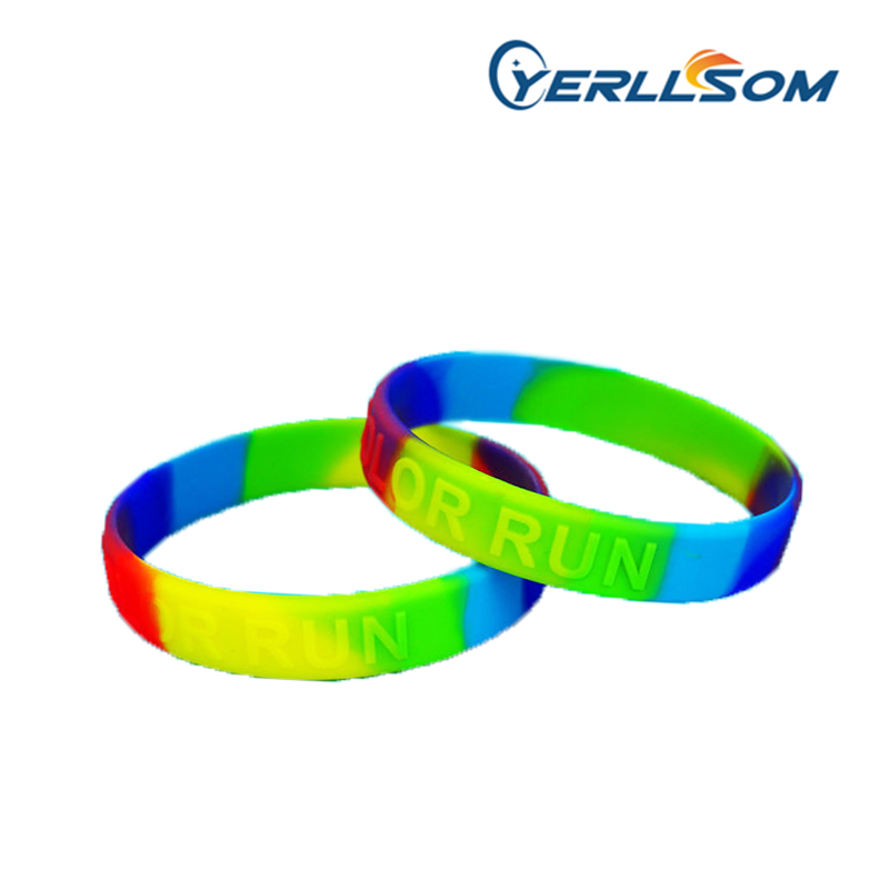 600PCS Lot Free shipping only embossed logo rubber band bracelets silicone for promotional gifts Y031702