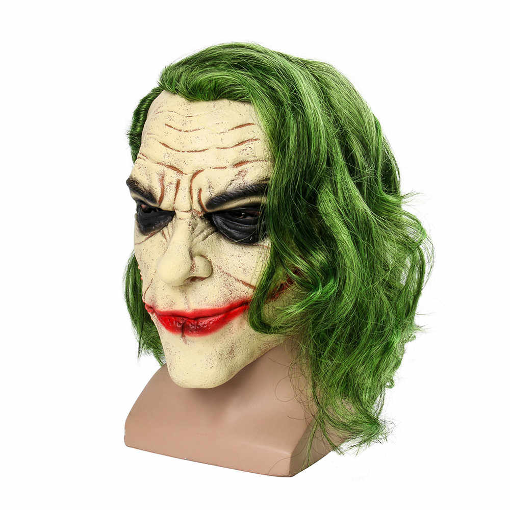 f31742566108 ... Movie Batman The Dark Knight Cosplay Horror Scary Clown Mask Joker Mask  with Green Hair Wig ...