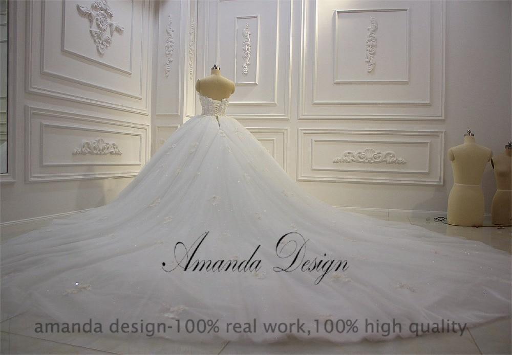 Image 5 - Amanda Design vestido de novia manga larga Strapless Lace Applique Puffy Ball Gown Wedding DressWedding Dresses   -