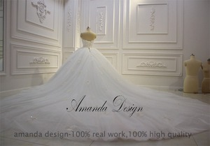 Image 5 - Amanda Design vestido de novia manga larga Strapless Lace Applique Puffy Ball Gown Wedding Dress