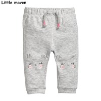 Little maven 2017 Autumn baby girls trousers cotton drawstring pants children's cat print kids trousers school pants 10151
