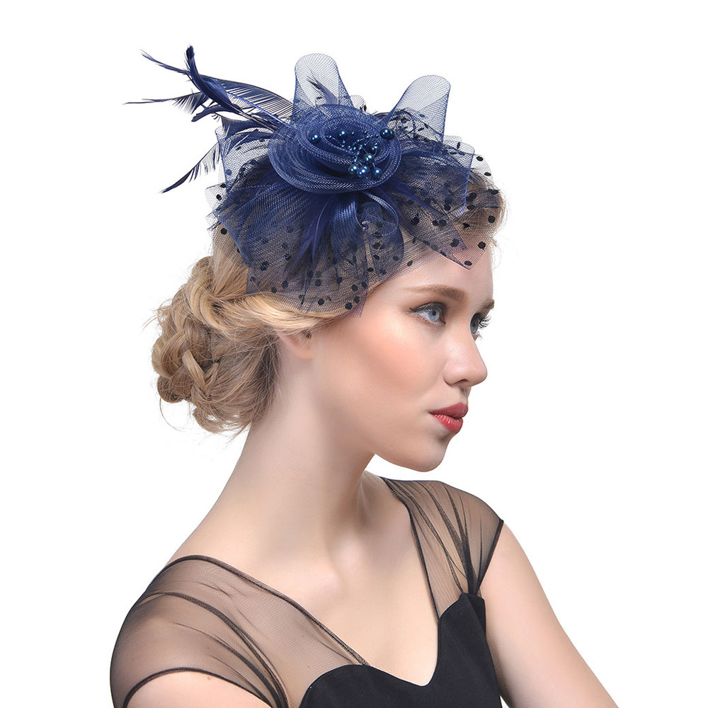 Women/'s Fascinator Hat Flower Mesh Ribbons Feathers Headband Cocktail Tea Party