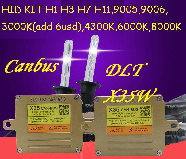 DLT X35 HID KIT,Canbus kit,X35,35W 12V,hid xenon kit,Free ship!2pcs X35+2pcs CNBulb,H1 H3 H7 880 881 9005 9006,H11,4300~8000K