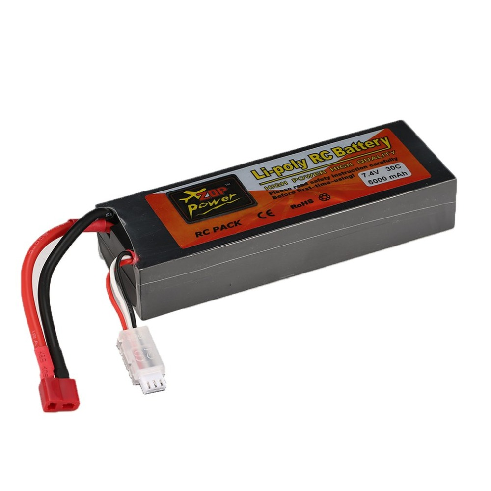 ZOP Power 7.4V 5000mAh 40C 2S 1P Lipo Battery T Plug for RC Drone Car Boat tP