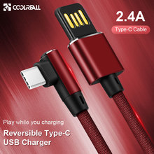 Coolreall 2.4A Reversible USB Type C Cable for huawei honor 10 fast charging Xiaomi Redmi  mi9 Mobile Phone Charge Cord