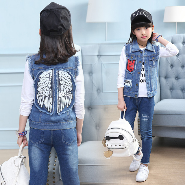 12d529755 Washing Denim Vest for Girls Light Blue Waistcoat Jeans Sleeveless  Outerwear Jackets Children Clothing Cute Girl Clothes Coats