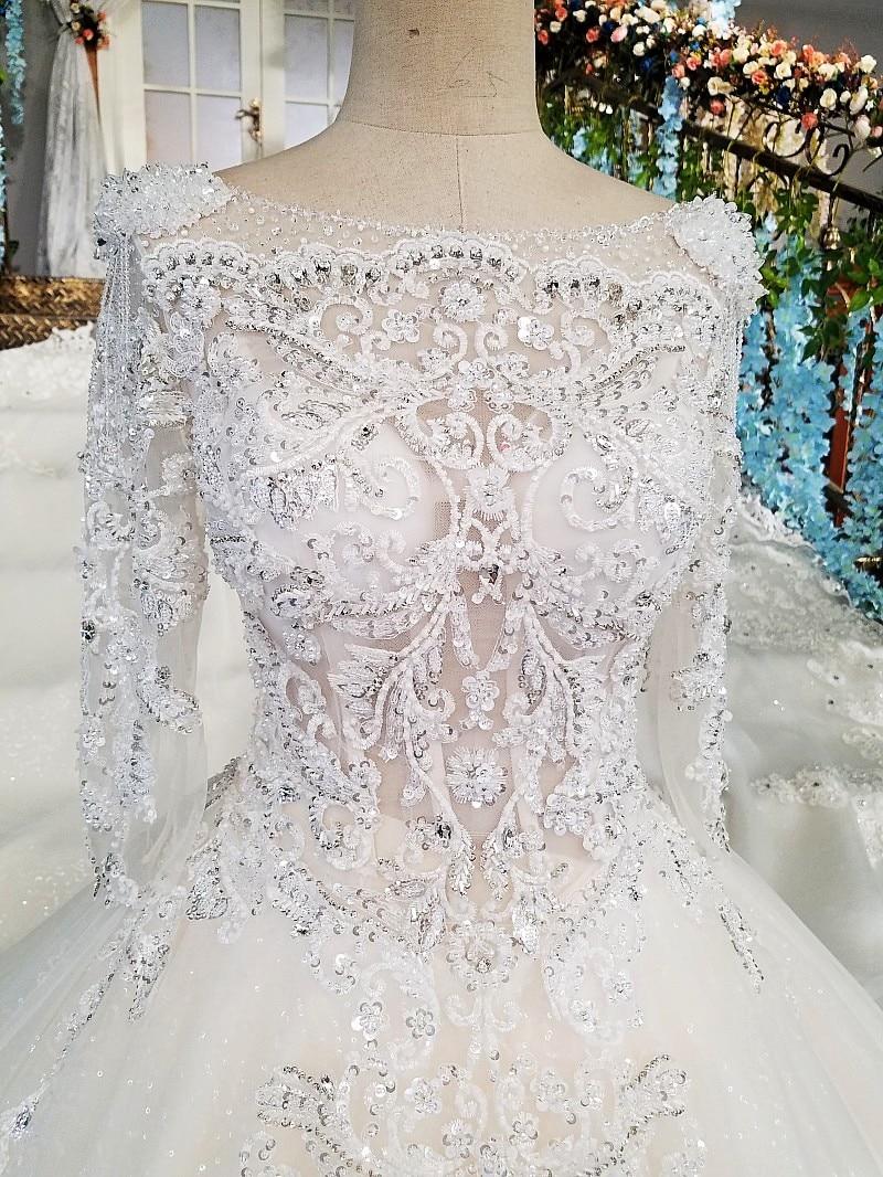 LS00213 vestido de noiva casamento backless appliques 3/4 mouwen kant - Trouwjurken - Foto 3